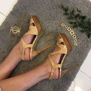 Marciano | Cut Out Strappy Beige Heels